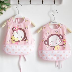2016新款男女婴儿宝宝围兜按扣系带防水围兜饭兜食饭兜2个
