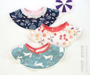 纯棉360度圆形宝宝围嘴婴儿口水巾儿童时尚印花围兜