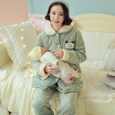 孕妇月子服秋冬季夹棉哺乳睡衣加厚产妇产后家居服