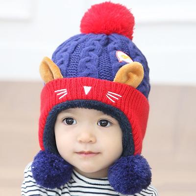 宝宝帽子秋冬季6-12个月婴儿帽子护耳帽