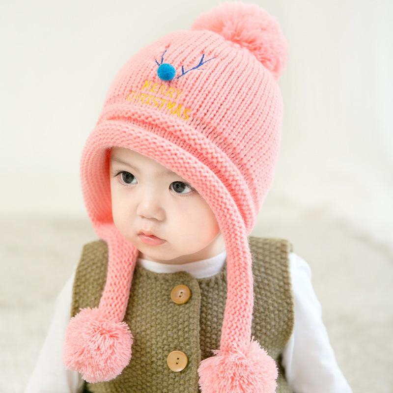 婴儿帽子秋冬韩版宝宝帽子3-6-12个月儿童毛线帽