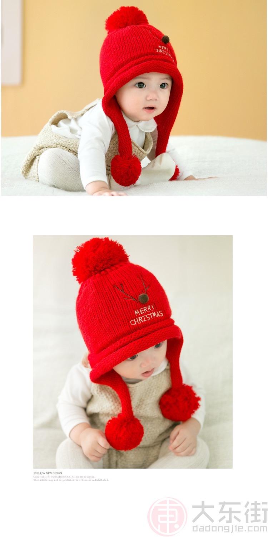 秋冬韩版宝宝帽子红色帽子