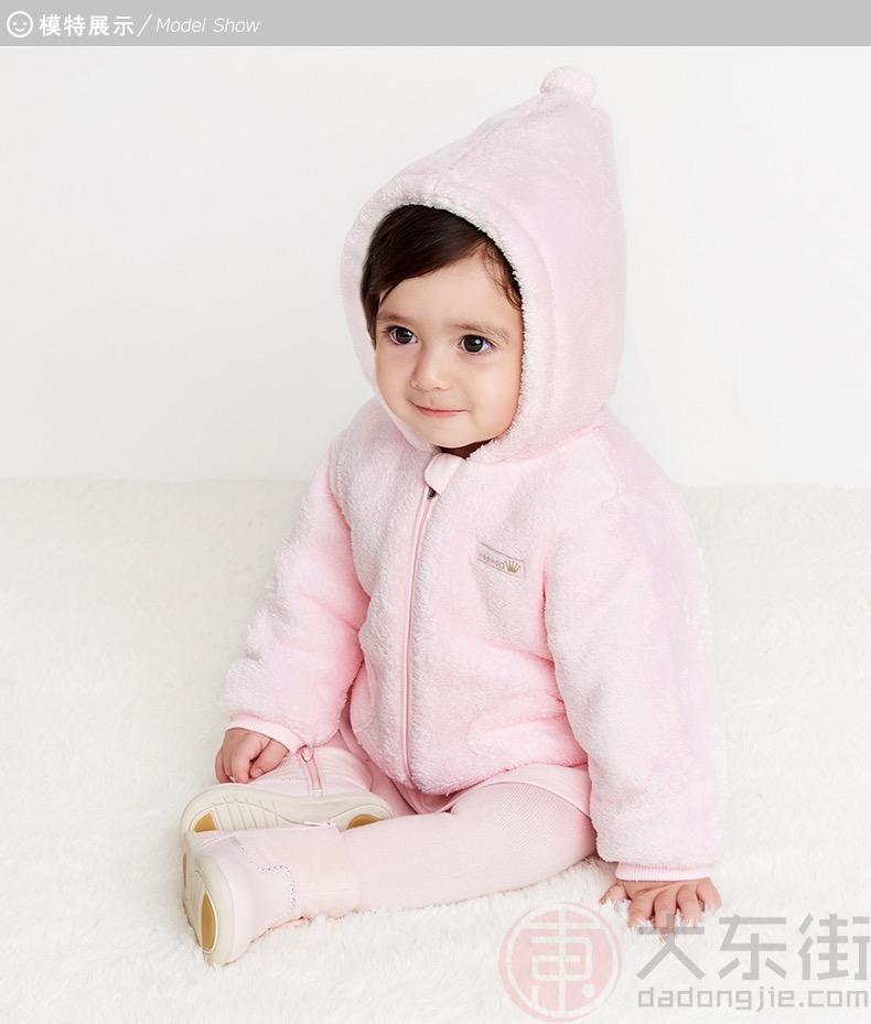 英氏儿童夹棉外套粉色女宝展示