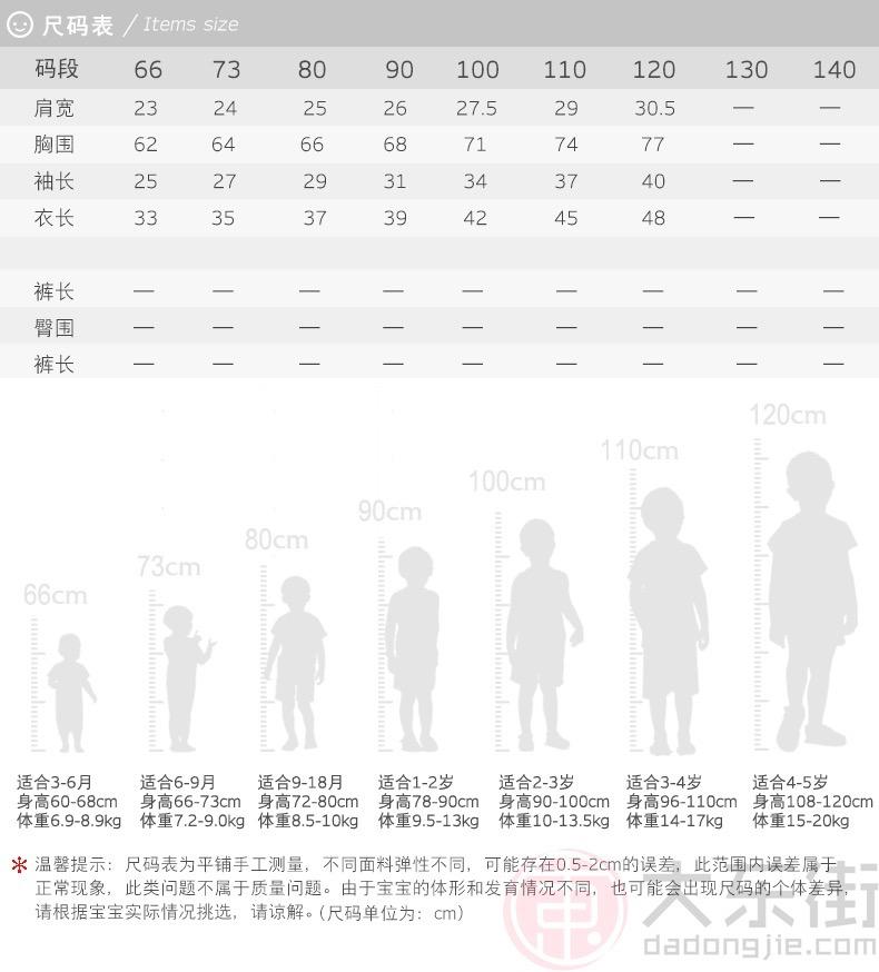英氏儿童夹棉外套产品尺码表