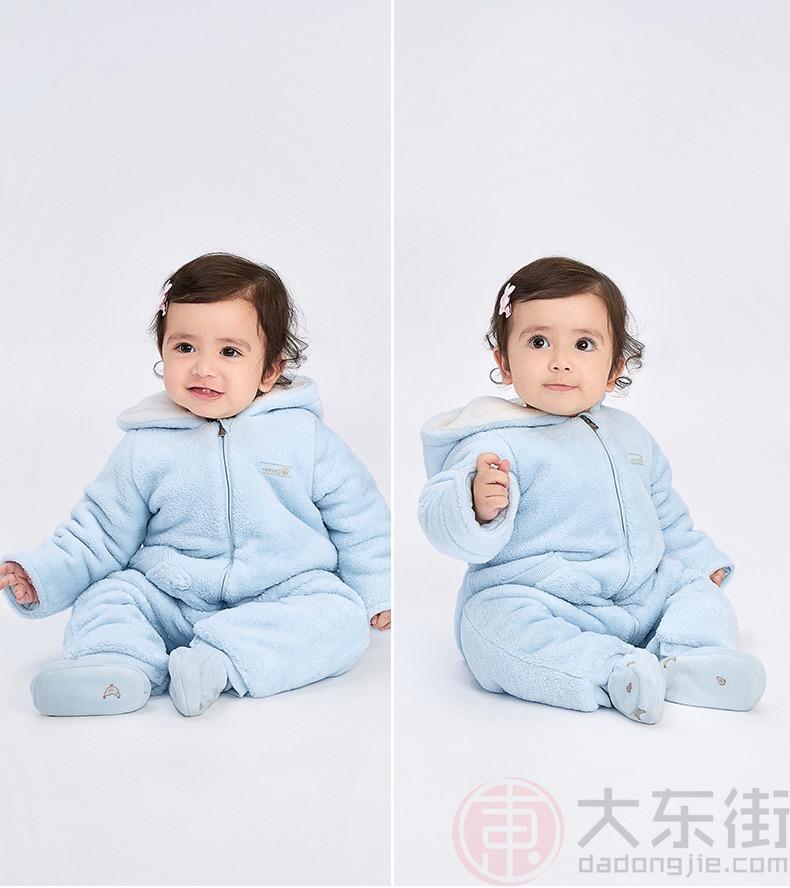 英氏婴儿连体衣淡蓝色女宝展示