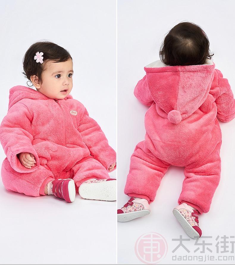 英氏婴儿连体衣粉红色女宝展示