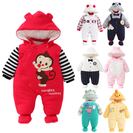 婴儿连体衣冬装加厚棉衣男女宝宝