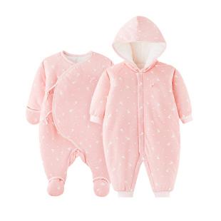 秋冬装婴儿连体衣哈衣0-3-6-12个月加厚