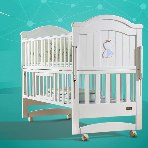 KUB可优比婴儿床实木欧式风格,给宝宝不一样的视觉享